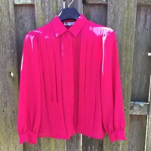 Vintage 80's Hot Pink Office Blouse